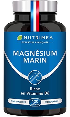 Magnésium Marin et Vitamine B6 | Combat Efficacement la Fatigue | 150 mg/jour | 120 Gélules d'Origine Végétale | 4 Mois de Cure | Fabrication Française | Nutrimea