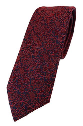 TigerTie - Corbata de diseño estrecho con estampado floral., Rojo vino, rojo oscuro, negro, Talla única