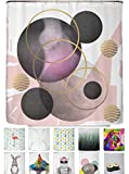 arteneur® - Geometrische Muster - Anti-Schimmel Duschvorhang 180x200 mit Öko-Tex Standard 100 - Beschwerter Saum, Blickdicht, Wasserdicht, Waschbar, 12 Ringe und E-Book