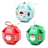 15 PCS Christmas Treat Candy Sweets Boxes,Small Present Boxes With Ribbon and Bell,Xmas Paper Lantern ball Gifts Boxes For Christmas Party Favor Kids Gifts