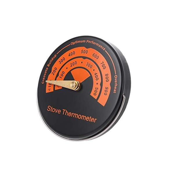 Feamos – Termómetro magnético para chimenea de leña, color naranja