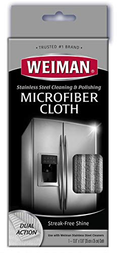 Weiman Microfiber Cloth for Stainless Steel - Safely Traps and Removes Dirt, Oil and Grime to Protect From Scratches