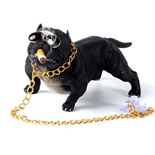 OMVOVSO Deko Skulpturen, Statue Figur Bully Pitbull Hund Auto Innendekoration Dashboard Ornament Mode Lustige Süße Dekoration Auto Zubehör Car Decoration,Schwarz
