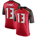 American Football Jersey # 13 Tampa Bay Buccaneers Mike Evans, Rugby Jersey Breathable Street Short Sleeve Sports T-Shirt Game Jersey-Red-L(180~185CM)