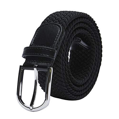 """TANGCHAO Cintura Elastica Intrecciata per Uomo e Donna Cinturino Elastica Intrecciata con Fibbia in Lega di Zinco 33mm (1.25"""") Colori Multipli nero 100"""