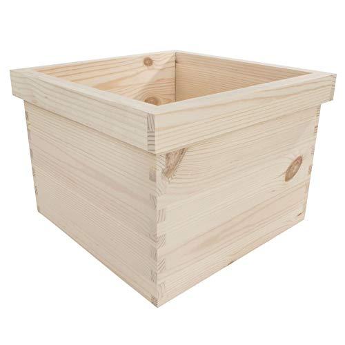 Large Square Wooden Flower Pot | 26 x 26 x 18 cm | Unpainted & Untreated Decorative Pine | Plant Box For Painting Craft Decoupage Decorate | Kitchen Windowsill Herb Planter Trough