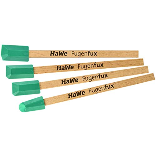 Hawe Fugenfux Mix 14.041, Silikonabzieher, Fugenspachtel, Fugenglätter, Sanitärabzieher, 4-teilig