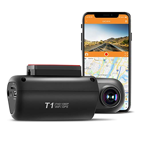 GPS Dash Camera for Cars, EACHPAI T1 Dash Cam Front 1080P with Built-in WI-FI, Wide Angle, WDR, G-Sensor, Loop Recording and Motion Detection,Night Vision