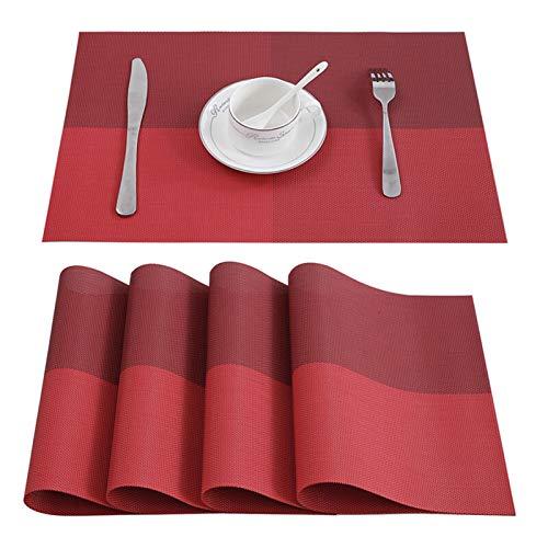 XIZHOUCUN 4/6/8 PCS Placemats para Platos de Comedor PVC Lavable Lavable en Accesorios de Cocina Taza de Vidrio Taza de Vino Sin resbalón Pad Pad Brown Brown manteles Individuales