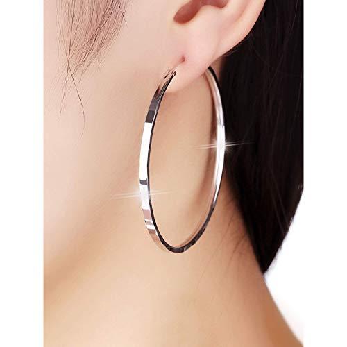 Rvicur Sterling Silber Kreis Große Ohrringe Frau Ringe Ohrtip 2021 Neue Tide Korean Square Netzwerk ROT KRAHNTE Ear Dekoration 2020