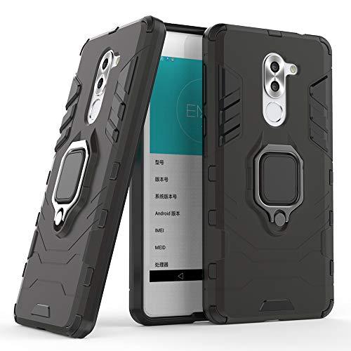 DESCHE für Honor 6X hülle, Ringhalterung hülle + Bildschirmschutz, kompatibel mit magnetischer Autohalterung (Außer Auto-Magnetrahmen) - Schwarz