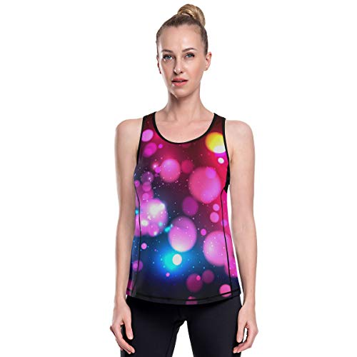 MONTOJ - Camiseta de tirantes de secado rápido con patrón de luces de sueño, para gimnasio, fitness, correr, culturismo 1 M