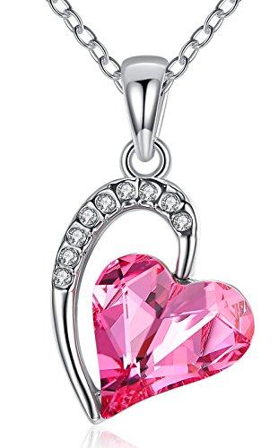 FLORAY Collana con Ciondolo a Forma di Cuore in Cristallo Placcato Oro Rosa per Donna