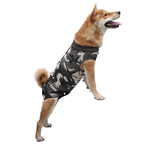 UANGER Suitable for Wound and Bandage Protection Skin DiseasesLight Incontinence Hund Hemd Mantel Weste Haustier Kleidung Hund Kleidung Bequem Baumwolle Material (XS, Camouflag)