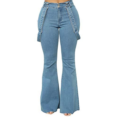 High Waisted Bell Bottom Jeans for Women, Kaitobe Women's Bell Bottom Strap Flare Jeans Elastic Waist Wide Leg Pants Blue