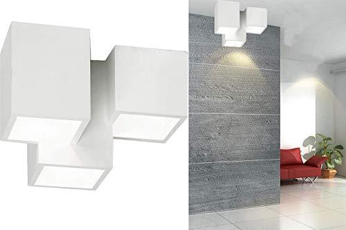 Plafoniera gesso lampada da interno applique da soffitto 3 quadrati gu10 GS-5028