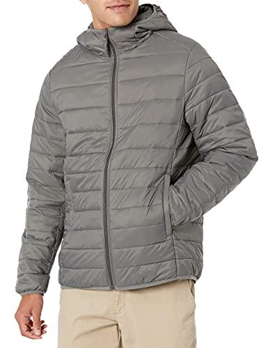 Amazon Essentials - Chaqueta con capucha acolchada, ligera, resistente al agua y plegable para hombre