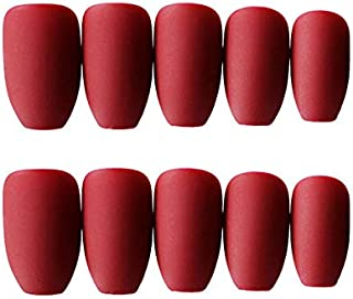 JINDIN 24 Sheet French Matte Fake Nails for Women Acrylic False Nails Coffin Shape Full Cover Press On Nail Tips medium long design (Red)