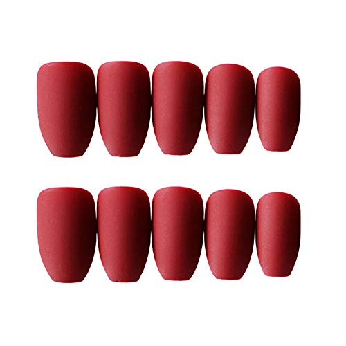 JINDIN 24 Sheet French Matte Fake Nails for Women Acrylic False Nails Coffin Shape Full Cover Press On Nail Tips With Medium Long Design (Red)