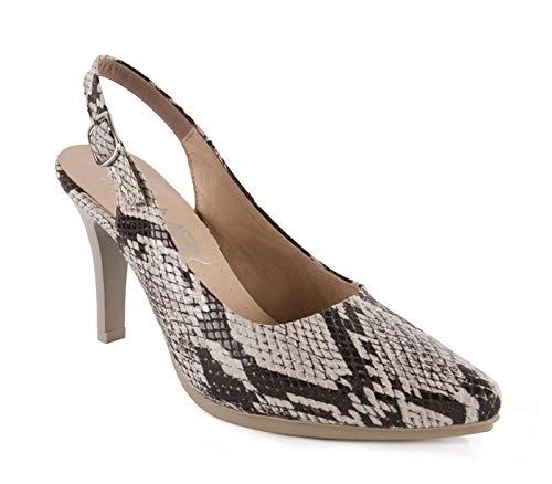 Chamby-Zapatos salón Destalonados Piel Grabado Serpiente-Planta