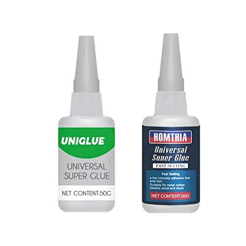 Uniglue Universal Super Glue, Instant Bonding Super Glue Adhesive, Mighty Universal Glue, Waterproof, for Ceramic Resin Glass Metal Leather Plastics (2 Bottles) (Green and Blue)