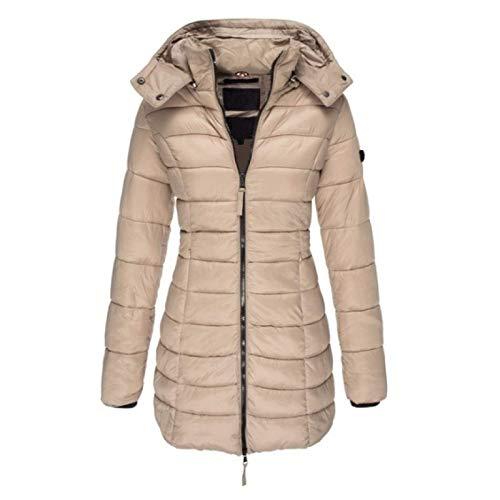 Katenyl Abrigo clido con capucha para mujer Color slido Slim Fit Moda Todo-fsforo Chaqueta de longitud media con cremallera Otoo e invierno S