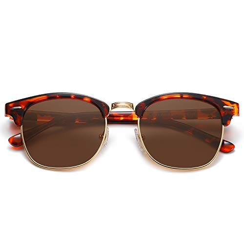 SOJOS Damen Herren Sonnenbrille Polarisiert UVprotect Optik Retro Vintage Horn Gestell Halbrahmen SJ5018 mit Schildkrötenrahmen/Braune Polarisierte Linse
