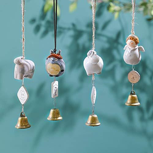 Tangyuan wind klokken voor tuin indoor tuin bamboe wind klokken voor tuin Creatieve meisje gift bel hanger Japanse stijl kleine verse keramische koperen bel slaapkamer deur balkon decoratie Witte Engel