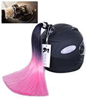 3T-SISTER クリスタルピグテール 14インチ ヘルメット用 ポニーテール デコレーション オートバイ 自転車 スキー ヘルメット アクセサリー 再利用可能 吸盤 再利用可能 デザイン 多色 (ヘルメットは含まれません)
