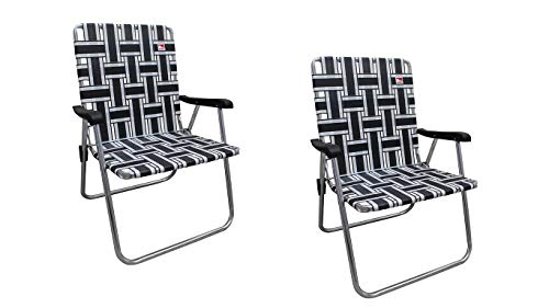 Outdoor Spectator (2-Pack) Classic Reinforced Aluminum Webbed Folding Lawn/Camp Chair (Black)
