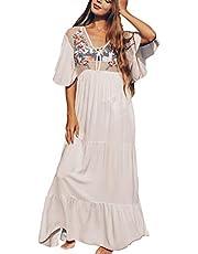 L-Peach Kaftan Vestido Largo de Playa Mujer