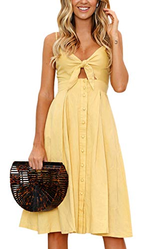 ECOWISH Womens Dress Summer Tie Front V-Neck Spaghetti Strap Button Down A-Line Backless Swing Midi Dress Yellow M