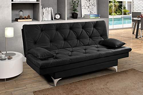 Sofa Cama Austria 3 Posições Reclinavel Essencial Estofados Preto