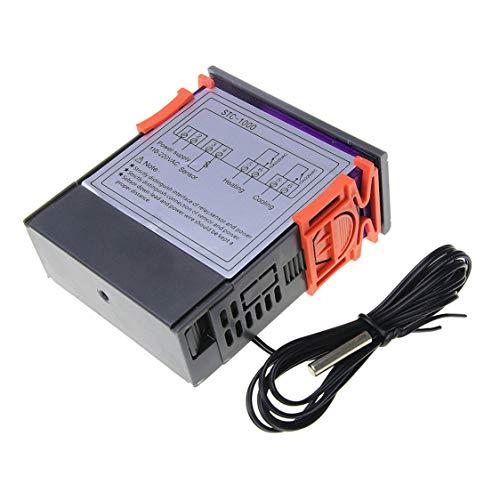 DDyna STC-1000 Termostato Controlador de Temperatura Digital LED de Salida Dual Termostato de calefacción de enfriamiento portátil - Naranja y Negro