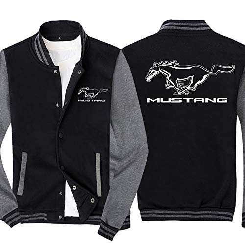 Chaquetas De Varsity Varsity Para Mustang 3D Sudadera Impresa Béisbol Jersey Jersey Spring Chaqueta Casual Abrigo De Algodón De Lapel - Adolescente Regalo Grey-Large
