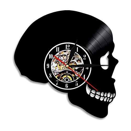 BBZZL Personalidad Cráneo Art Deco Reloj de Pared 3D Disco de Vinilo Reloj de luz Nocturna LED con Cambio de luz Color de Pared de luz Sin LED