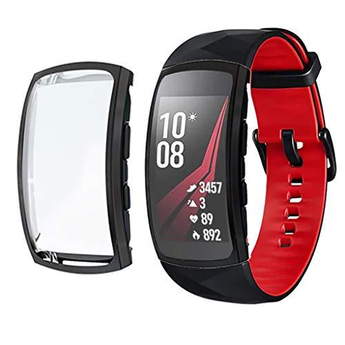 Deng Xuna Bracelet pour Samsung Gear fit 2 Pro Case, Housse complète de Protection Dure TPU Ultra Mince - Screen Protector Cover de Protection - pour Samsung Gear fit 2 Pro (Noir)