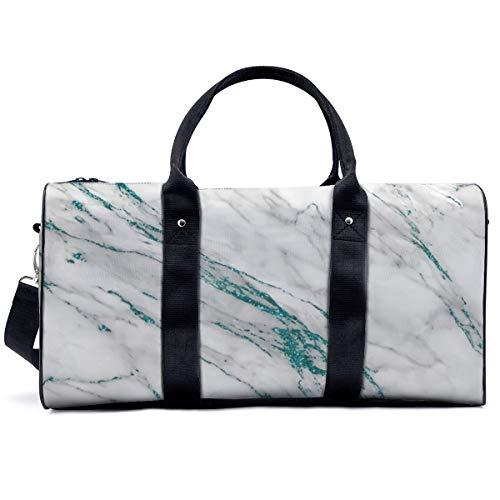 Sports Gym Bag,Grey Marble Aqua Teal Metallic Glitter Foil Style Handbag Yoga Bag Shoulder Tote Weekend Bag Travel Holdall Duffel Bag for Adult Men Women