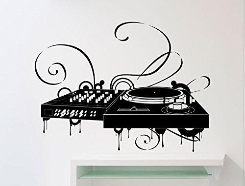 Turntable DJ Wall Decal Dick Jockey At Work Disco Dance Floor Music Studio Vinyl Sticker Home Interior Art Decoration Any Room Mural Waterproof Vinyl Sticker (26mu)