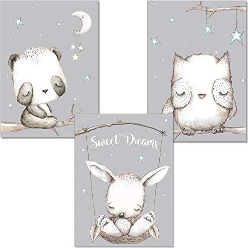 ARTpin® 3er Set Poster Kinderzimmer Babyzimmer A4 Ohne Rahmen - Dekoration Mädchen Junge - Waldtiere Panda Eule (P32)