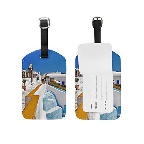 Eslifey Grecia Santorini Caldera Paisaje de piel sintética para maletas, etiquetas de equipaje, cubierta de privacidad para bolsa de viaje