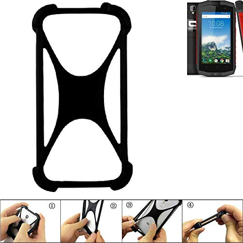 K-S-Trade Handyhülle kompatibel mit Crosscall Trekker-M1 Core Schutz Hülle Silikon Bumper Cover Case Silikoncase TPU Softcase Schutzhülle Smartphone Stoßschutz, schwarz (1x)