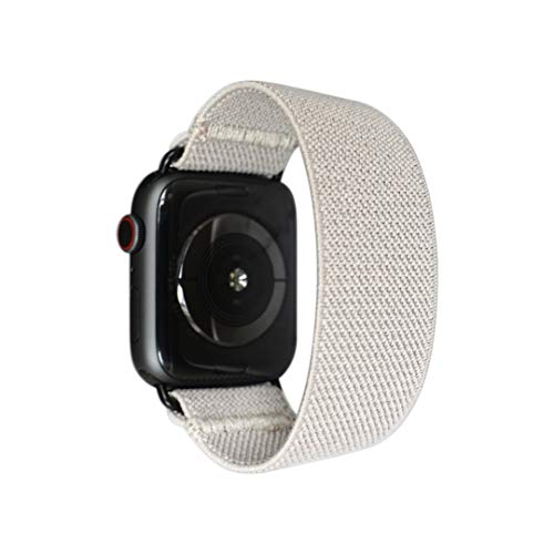 Tefeca Grey Elastic Compatible/Replacement Band for Apple Watch 38mm/40mm (Black Adapters, XS fits Wrist Size : 5.5-6.0 inch)