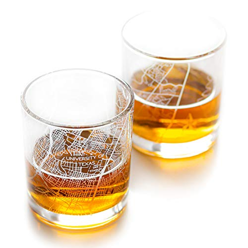 RESSCU Austin Etched Map Whiskey Glasses, Set of 2 with Gift Box, Unique Gift, City Map Glass