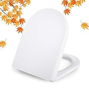 Tapa de WC, DALMO Polipropileno Asiento de inodoro con forma de D fabricado, asiento de inodoro con cierre suave que evita golpes, antideslizante y cierre rápido de 1 botón para una fácil
