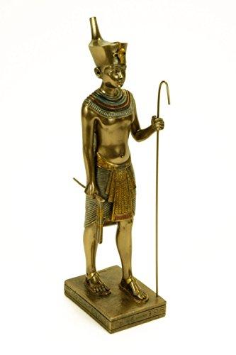 CAPRILO Figura Egipcia Decorativa Tutankhamon Esculturas Resina. 5,5 x 8 x 23 cm.