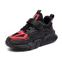 [F FADVES] スニーカー 子供靴 運動靴 スポーツシューズ カジュアルシューズ マジック 軽量 通気 滑り止め 女の子 男の子 ジュニア 幼稚園 学校 通学履き(18.0cm、ブラック/レッド)