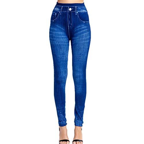 Fliegend Damen Jeggings Treggings Gestreifte Jeansoptik Leggings Große Größen Elastic Jeans High Waist Skinny Hosen Strumphose Lange Tights XS