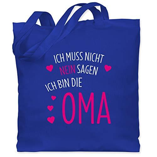 Shirtracer Oma - Ich muss nicht nein sagen ich bin die Oma - Unisize - Royalblau - oma muss nicht nein sagen tasche - WM101 - Stoffbeutel aus Baumwolle Jutebeutel lange Henkel