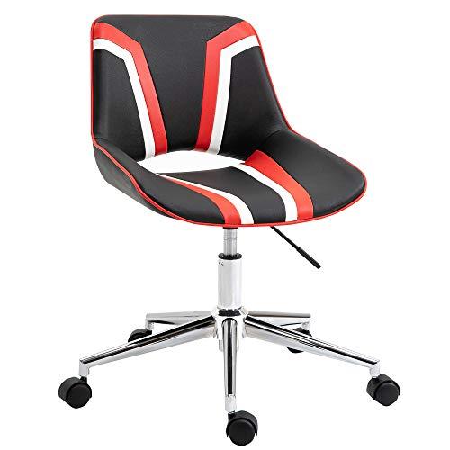 homcom Silla de oficina ergonómica de estilo gaming giratoria y ajustable, piel sintética negra, blanca y roja, 49 x 56,5 x 82,5 cm